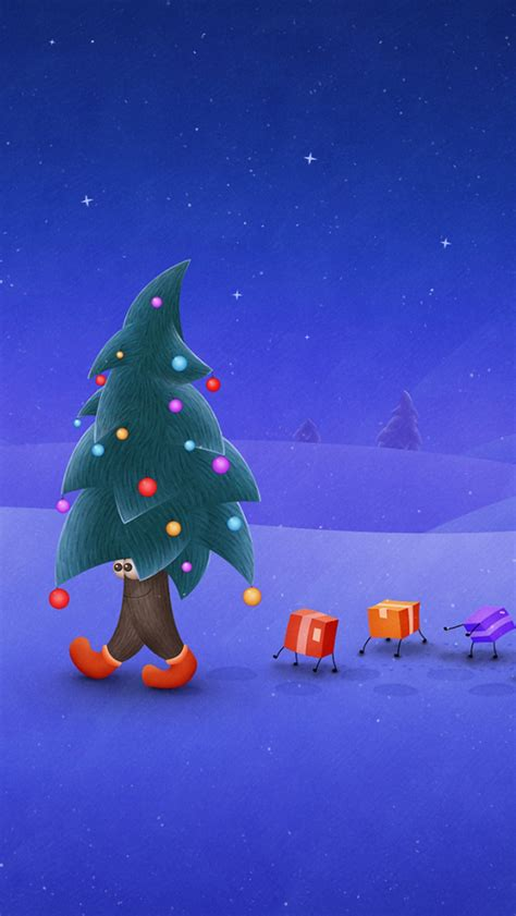 walking christmas tree the iphone wallpapers