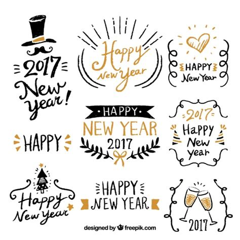 new year vector happy new year with fantastic labels vector