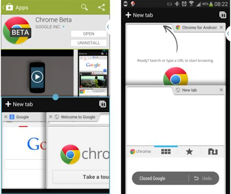 chrome version apk chrome para android se actualiza con restaurar pesta 241 as cerradas v 237 deo a pantalla