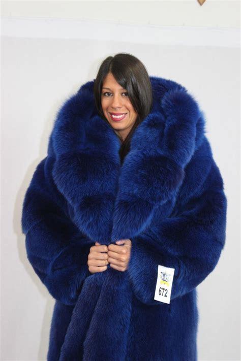 large coats big blue fox fur coat chilly