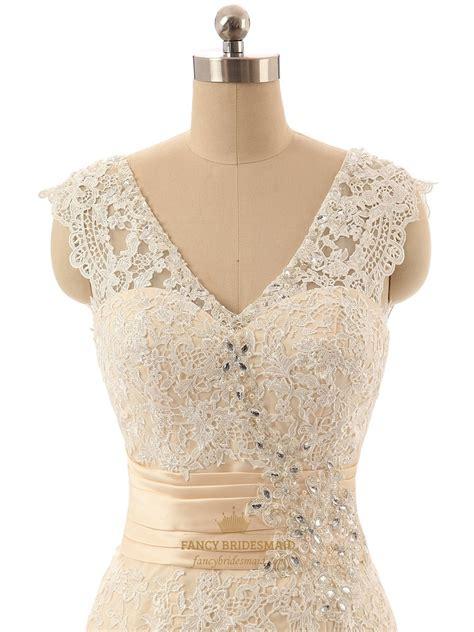 Sleeveless Mermaid Lace Dress chagne sleeveless v neck lace mermaid wedding dress