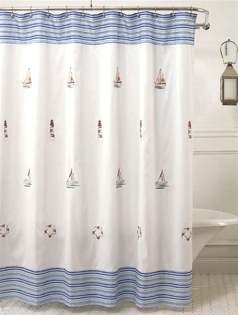material shower curtains curtain bath outlet annapolis embroidered nautical