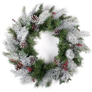 24 quot 61cm green frosted christmas wreath with berries