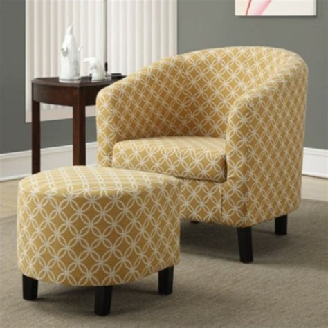 Yellow Accent Chair With Arms Upholstered Accent Club Arm Chair And Ottoman In Yellow