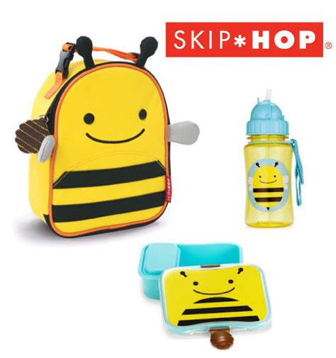 bee skip hop zoo insulated lunchie lunch box straw