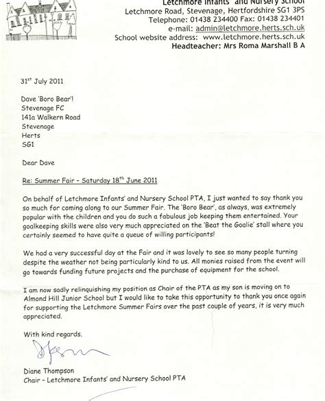 thank you letter to soccer team a thank you letter to the boro stevenage football