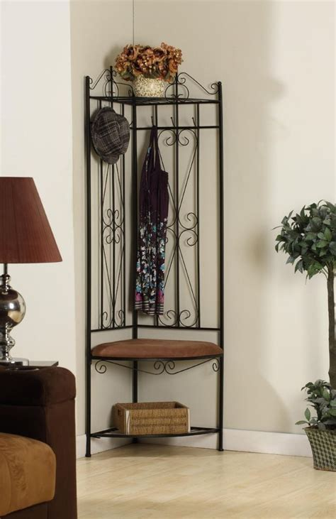 corner hall tree bench metal corner entryway hall tree coat rack stand home
