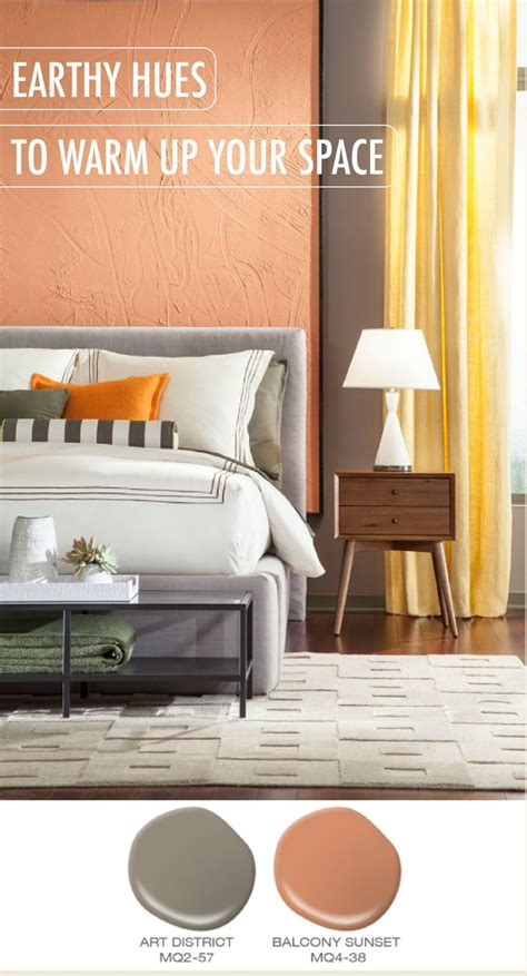 try using earthy hues like district and balcony sunset to warm up your space these orange