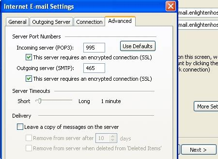 smtp port 465 i wish to use ssl when sending and recieving support
