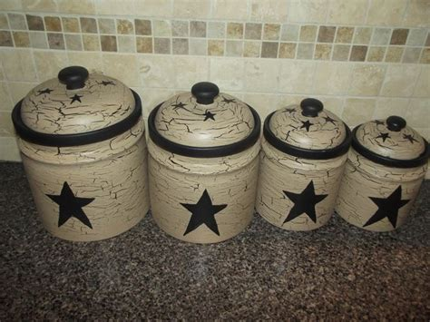primitive kitchen canisters primitive crackle painted set of 4 canisters black stars
