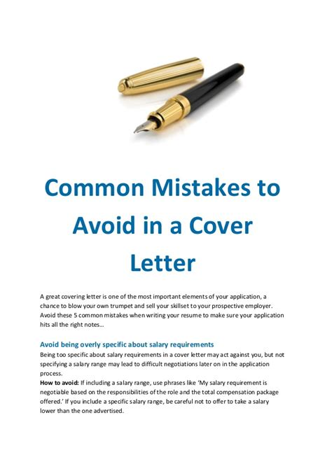 cover letter mistakes common mistakes to avoid in a cover letter