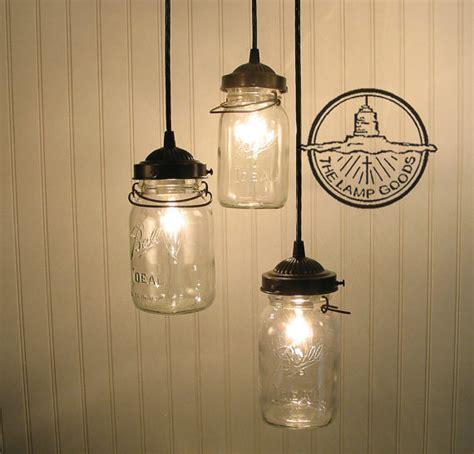 Canning Jar Light Fixtures Vintage Canning Jar Chandelier Trio Light Flush Mount
