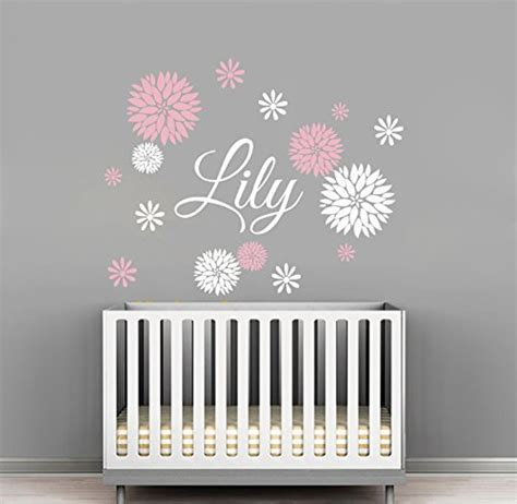 custom flowers name wall decal room decor