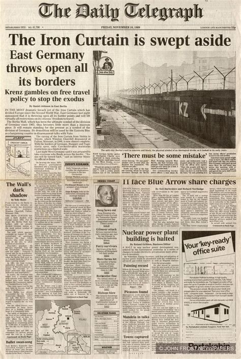 berlin wall newspaper onthisday in 1989 the berlin wall was taken