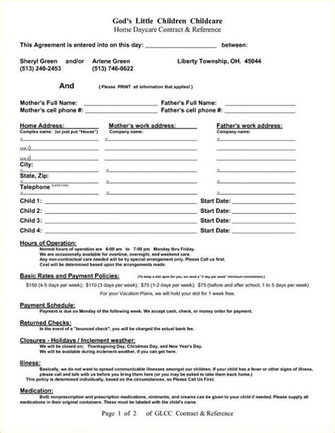 Daycare Contract Template Shatterlion Info Daycare Contract Templates Free