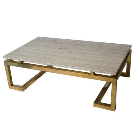 travertine coffee table travertine top brass base rectangular coffee table