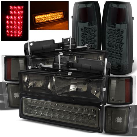 smoked headlights and lights for 94 99 chevy tahoe suburban smoked headlights led