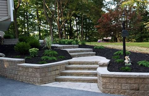 front yard stairs paver stairs retaining wall entryways steps and