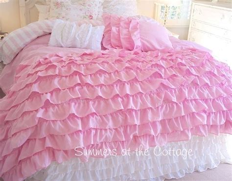 twin ruffle comforter twin xl dorm room bedding dreamy pink ruffles shabby