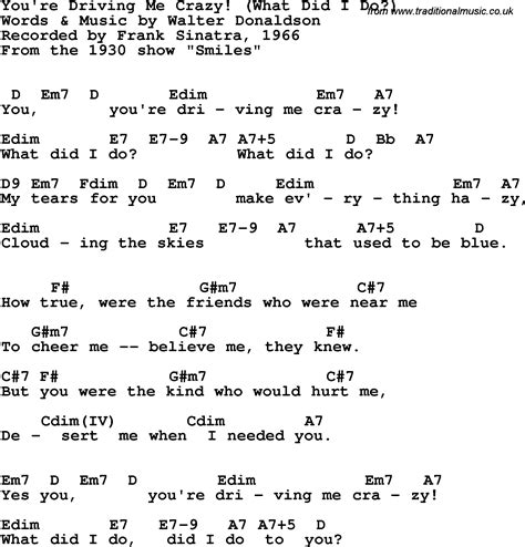 drive me crazy lyrics song lyrics with guitar chords for you re driving me crazy