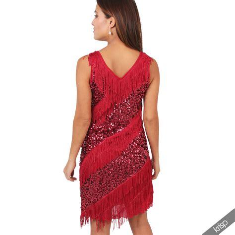20s swing dress womens vintage 20s flapper fringe sequin deco swing