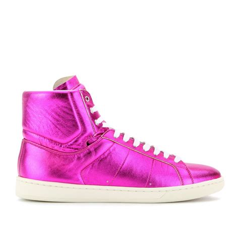 purple high top sneakers laurent metallic leather hightop sneakers in purple