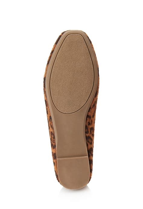 pony hair loafers forever 21 pony hair leopard loafers in brown lyst
