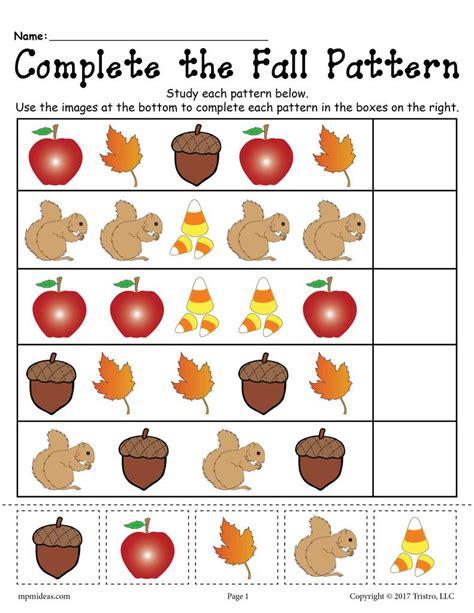 name the pattern math free printable fall pattern worksheet supplyme
