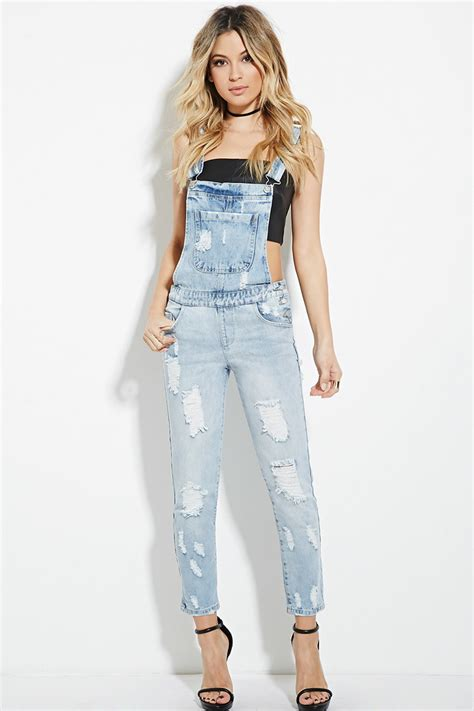 Distressed Denim distressed denim overalls playsuits jumpsuits