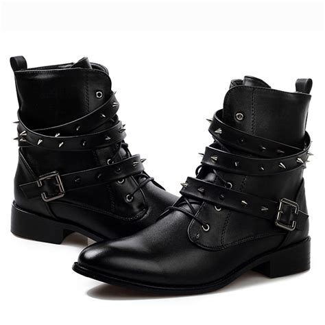spiked mens boots cool fashion rock leather motorcycle ankle oxfords
