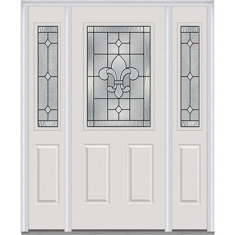 Decorative Glass Front Doors Mmi Door 64 5 In X 81 75 In Carrollton Decorative Glass 1 2 Lite Painted Fiberglass Smooth