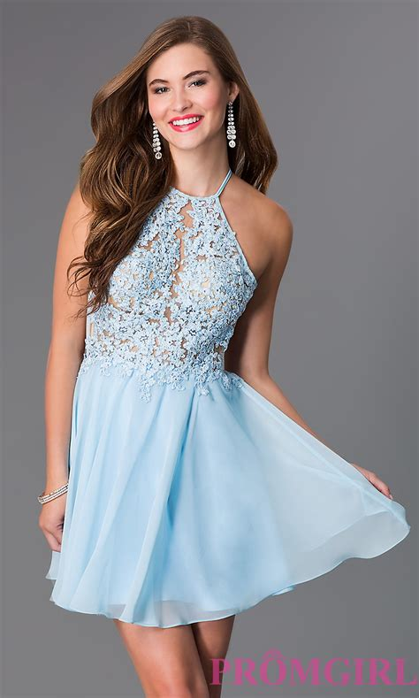 Short Light Blue Dress by Light Blue Short Open Back Party Dress Promgirl