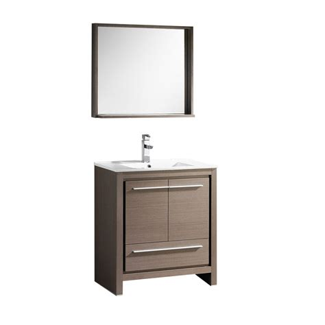 29 inch bathroom vanity 29 5 inch single sink bathroom vanity in gray oak with matching mirror uvfvn8130go30