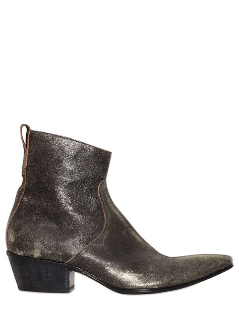 gold cowboy boots haider ackermann gold sprayed leather cowboy boots in