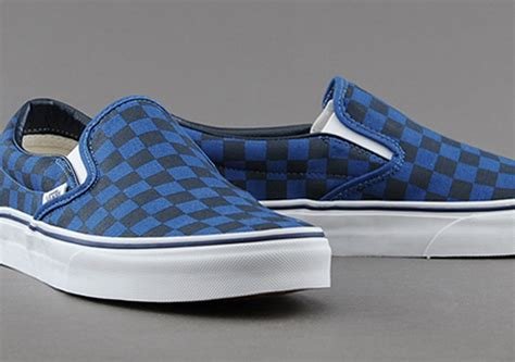 blue pattern vans vans slip on dark blue checkerboard sneakernews com