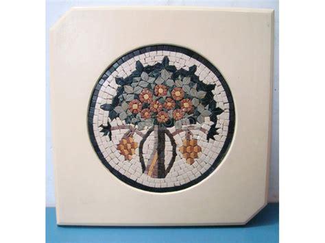 cornici mosaico quadro mosaico vaso con fiori vintage epoca con cornice in