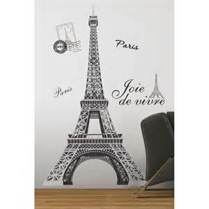Eiffel Tower Wall Decal Theme Decor Vinyl Wall New Black Silver Eiffel Tower Wall Decals
