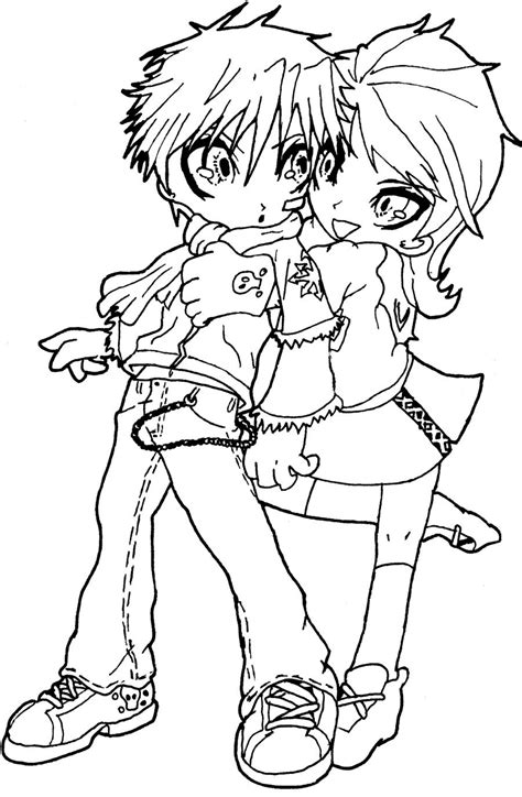 chibi couple coloring pages easy chibi couple coloring pages