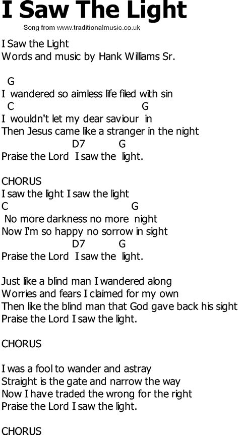 Old Country Song Lyrics With Chords I Saw The Light Song Light