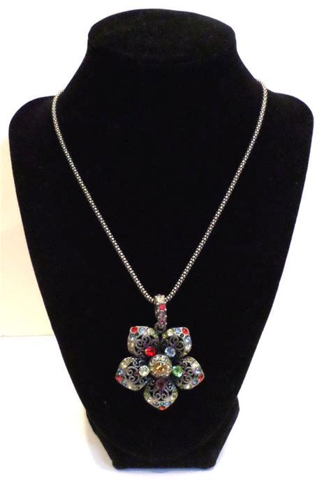 Rhinestone Multi Chain Necklace rhinestone bling flower pendant and chain necklace multi