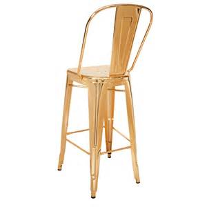 Commercial Patio Chairs Bistro Style Metal Bar Stool In Gold Finish