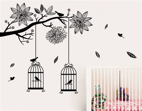 birdcage wall stickers bird cages in tree your decal shop nz designer wall decals wall stickers wall murals