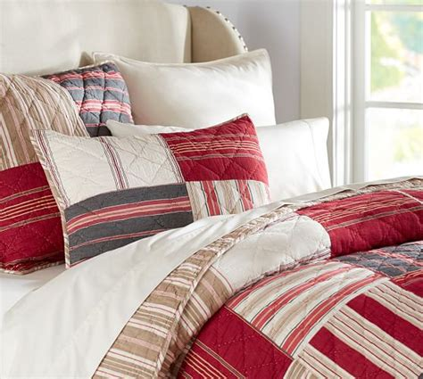 multi stripe patchwork quilt sham pottery barn
