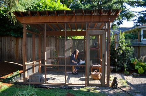 catio cat enclosures on display in portland with cats