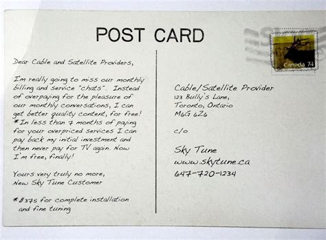 A Postcard From by A Dear Postcard To Canada S Cable Tv Companies The