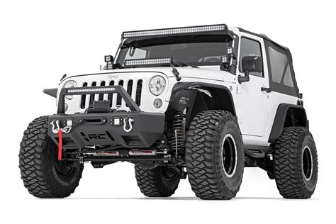 Jeep Wrangler Jk Bumpers Stubby Black Front Led Winch Bumper W Chrome Series Leds