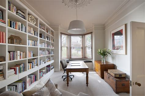 White Desk And Bookcase House Design Astonishing Office With Brown Brick Wall
