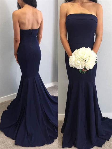 Strapless Bridesmaid Dress strapless mermaid navy blue bridesmaid dress