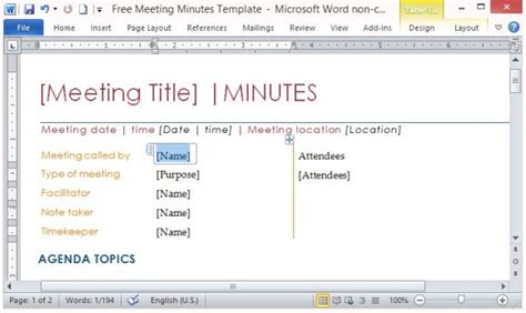 Free Meeting Minutes Template For Word Microsoft Word Meeting Minutes Template