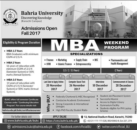 Fresh Mba Supply Chain In Karachi by Admission Open In Bahria Karachi 5 Nov 2017